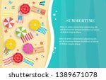 summertime beach top view... | Shutterstock .eps vector #1389671078
