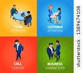 team workers  customer... | Shutterstock .eps vector #1389674108
