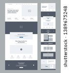 Stock vector one page website design template for business landing page wireframe flat modern responsive 1389675248