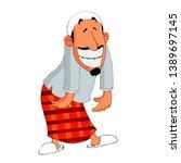 funny muslim man wearing white... | Shutterstock .eps vector #1389697145