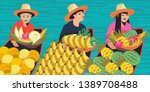 thai fruit traders in boats.... | Shutterstock .eps vector #1389708488