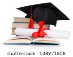 grad hat with diploma and books ... | Shutterstock . vector #138971858