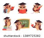 owl teacher. cartoon bird...   Shutterstock .eps vector #1389725282