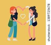 best friends girls make heart... | Shutterstock .eps vector #1389725678