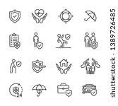 vector set of insurance line... | Shutterstock .eps vector #1389726485