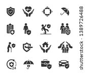 vector set of insurance icons. | Shutterstock .eps vector #1389726488