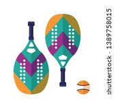 beach and paddle tennis icons.... | Shutterstock .eps vector #1389758015