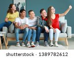 group of teenagers taking... | Shutterstock . vector #1389782612