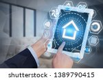 man hands with tablet computer...   Shutterstock . vector #1389790415