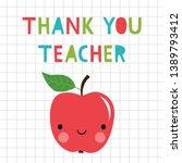 thank you teacher vector card... | Shutterstock .eps vector #1389793412