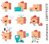 cute delivery box characters... | Shutterstock .eps vector #1389795575