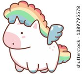 cute kawaii unicorn with... | Shutterstock .eps vector #1389795578