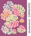 vector tropical pattern with... | Shutterstock .eps vector #1389814292