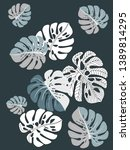 vector tropical pattern with... | Shutterstock .eps vector #1389814295