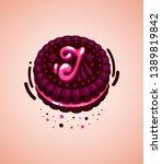 vector brown cookie and pink...   Shutterstock .eps vector #1389819842