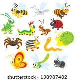 Collections of insects with fly, butterfly, dragonfly, snail, worm, potato beetle, spider, ladybug, ant, caterpillar, grasshopper, bee, wasp and mosquito