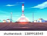 spaceship start  heavy rocket... | Shutterstock .eps vector #1389918545