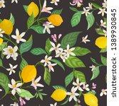 seamless lemon pattern with... | Shutterstock .eps vector #1389930845