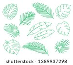 linear hand drawn tropical set... | Shutterstock .eps vector #1389937298