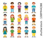 group of smiling boys and girls.... | Shutterstock .eps vector #1389944288