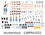 hipster boy in trendy clothes... | Shutterstock .eps vector #1389961022