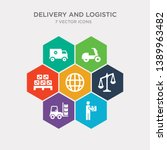simple set of delivery man ... | Shutterstock .eps vector #1389963482