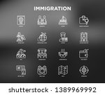 immigration thin line icons set ... | Shutterstock .eps vector #1389969992