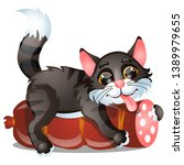 sly striped cat licks sausage... | Shutterstock .eps vector #1389979655