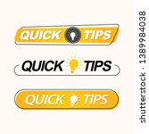 quick tips  hint  helpful... | Shutterstock .eps vector #1389984038