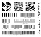 Stock vector barcodes supermarket scan code bars and qr codes industrial barcode price black labels realistic 1389987212