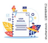 user manual concept. guide book ... | Shutterstock .eps vector #1389989912