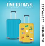 travel luggage set. travel and... | Shutterstock .eps vector #1389991688