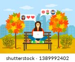 beautiful young girl sitting in ... | Shutterstock .eps vector #1389992402