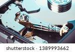 disassembled computer hard...   Shutterstock . vector #1389993662