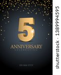 anniversary 5. gold 3d numbers. ... | Shutterstock .eps vector #1389994595