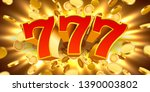 golden slot machine 777 with... | Shutterstock .eps vector #1390003802