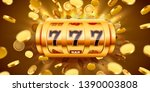 Golden Slot Machine With Flying ...