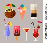 summer drink icon element set | Shutterstock .eps vector #1390058012