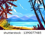 Paradise beach landscape vector illustration. Picturesque view of tropical palm trees amazing seashore on mountain background flat style design. Heavenly place. Summer vacation concept