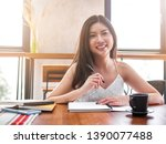 young asia woman think about... | Shutterstock . vector #1390077488