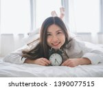 close up of a happy young woman ... | Shutterstock . vector #1390077515