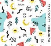 seamless doodle summer pattern. ...   Shutterstock .eps vector #1390077812