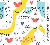 seamless doodle summer pattern. ...   Shutterstock .eps vector #1390077818