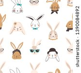 Stock vector childish seamless pattern with funny bunny faces on white background backdrop with cute rabbits or 1390084892