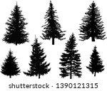 illustration with seven fir... | Shutterstock .eps vector #1390121315