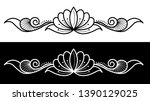lotus flower with spirals and... | Shutterstock .eps vector #1390129025