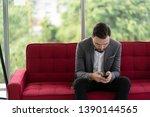 men are checking information on ... | Shutterstock . vector #1390144565