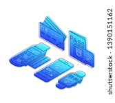 nfc technology isometric color... | Shutterstock .eps vector #1390151162