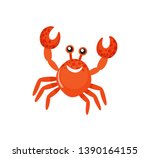 smiling red crab with raised... | Shutterstock .eps vector #1390164155