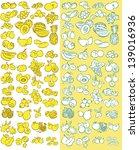 vector set of fruits in line... | Shutterstock .eps vector #139016936